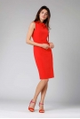 Czerwona Ołówkowa Sukienka z Kokardą