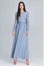 Szara Zwiewna Sukienka Maxi z Podkreślona Talią