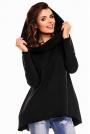 Czarna Nietuzinkowa Bluza z Dużym Kapturem