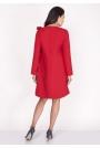 Czerwona Sukienka z Dekoltem w Serek z Ozdobną Szarfą na Ramieniu
