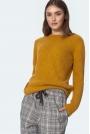 Gładki Sweter z Półkrągłym Dekoltem - Musztardowy