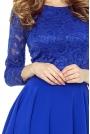 Chabrowa  Sukienka Rozkloszowana Asymetryczna z Koronkową Górą