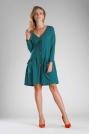 Zielona Sukienka o Luźnym Fasonie Zapinana na Guziki