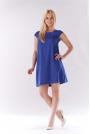 Niebieska Sukienka Zwiewna Trapezowa z Mini Rękawkiem
