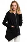 Czarna Zapinana Asymetryczna Bluza z Kapturem