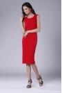 Czerwona Szykowna Sukienka Ołówkowa bez Rękawów