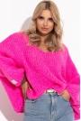Sweter Z Szerokim Dekoltem V- Różowy