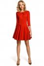 Czerwona Wizytowa Sukienka z Zakładkami przy Dekolcie