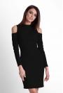 Czarna Ołówkowa Sukienka na Stójce z Wycięciem w Rękawie