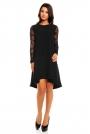Czarna Elegancka Trapezowa Sukienka z Koronkowym Długim Rękawem