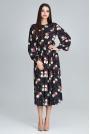 Stylowa Sukienka w Barwny Deseń z Bufiastym Rękawem - Wzór 75