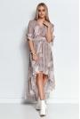 Wzorzysta Asymetryczna Sukienka z Falbankami - Wzór 20