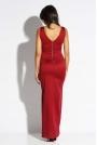 Bordowy Sukienka Wieczorowa Maxi z Długim Rozcięciem