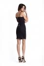 Ołówkowa Czarna Sukienka na Cienkich Ramiączkach