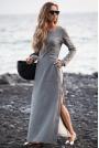Szara Sukienka Dresowa Maxi z Dekoltem Caro z Rozcięciem