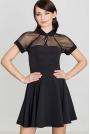 Czarna Sukienka z Szyfonem z Krótkim Rękawem