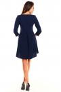 Granatowa Koktajlowa Asymetryczna Sukienka z Kontrą