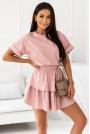 Komplet Dresowy Bluzka + Spódniczka - Pudrowa