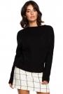 Czarny Kimonowy Sweter z Kontrastowymi Mankietami