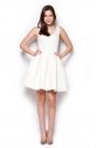 Ecru Rozkloszowana Sukienka Mini z Dekoltem V na Plecach