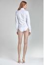 Stylowa Biała Koszula-Body z Długim Rękawem