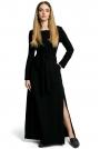 Czarna Sukienka Dresowa Maxi z Dekoltem Caro z Rozcięciem