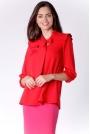 Kobieca Czerwona Bluzka z Dekoracyjnym Wiązaniem i Falbanką