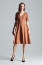 Brązowa Klasyczna Rozkloszowana Sukienka za Kolano z Dekoltem V