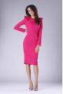 Ciemno Różowa Sukienka o Dopasowanym Fasonie z Falbankami