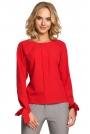 Czerwona Bluzka z Wiązanymi na Dole Długimi Rękawami