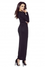 Czarna Matowa Sukienka Długa Kopertowa z Dekoracyjnym Marszczeniem