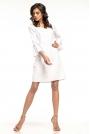 Biała Wizytowa Luźna Sukienka z Kloszowanym Rękawem