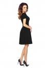 Czarna Wizytowa Sukienka z Plisami z Krótkim Rękawem