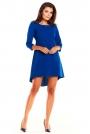 Niebieska Koktajlowa Asymetryczna Sukienka z Kontrą