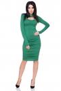 Zielona Marszczona Sukienka Bodycon z Wyciętym Dekoltem