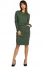 Zielona Sukienka z Gumką w Pasie