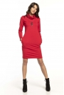 Czerwona Krótka Bawełniana Sukienka z Kominem