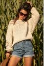 Luźny Sweter o Grubym Splocie - Beżowy