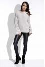 Beżowy Sweter w Prążek z Szerokimi Rękawami