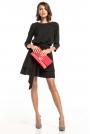 Czarna Sukienka z Rozkloszowanym Podwójnym Dołem