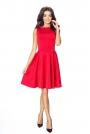 Czerwona Elegancka Sukienka Koktajlowa z Rozkloszowanym Dołem