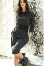 Grafitowa Modelująca Sukienka z Podkreśloną Talią