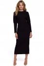Czarna Długa Sukienka z Pęknięciem na Plecach