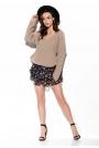 Oversizowy Sweter z Dekoltem V - Latte