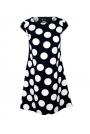 Granatowa Trapezowa Sukienka Letnia w Duże Grochy