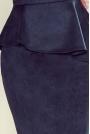 Elegancka Ołówkowa Sukienka Midi z Asymetryczną Baskinką - Granatowa