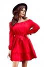 Czerwona Zwiewna Kobieca Sukienka z Falbankami