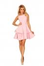 Różowa Sukienka Rozkloszowana z Podwójną Falbanką