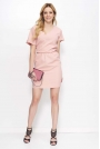Różowa Sukienka Krótka Kimonowa z Wycięciem na Plecach