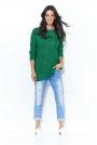 Zielony Klasyczny Sweter w Łódkę z Ażurowym Przodem